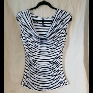 Colori b&w stripped blouse with ruching, size L